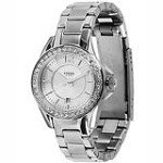 Fossil ES2879 Women's Riley Mini Silver Tone Dial Swarovski Crystals Accents Bezel Stainless Steel Watch