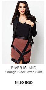 RIVER ISLAND Orange Block Wrap Skirt