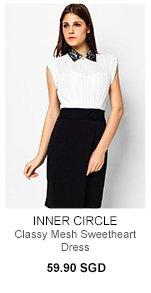 INNER CIRCLE Classy Mesh Sweetheart Dress