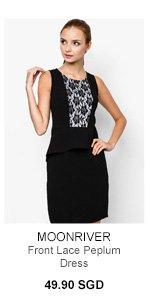 MOONRIVER Front Lace Peplum Dress