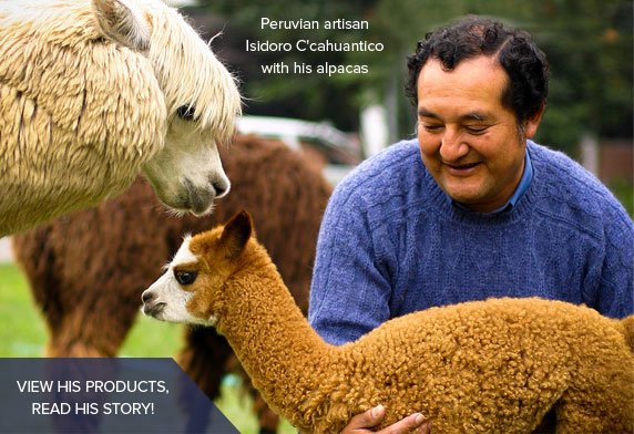 Peruvian artisan Isidoro C'cahuantico with his alpacas - View his products, read his story!