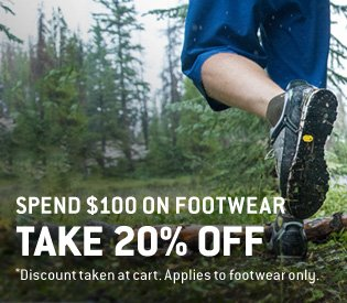 Spend $100, Get 20% Off Footwear