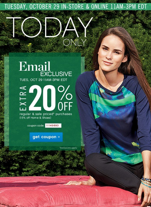 Today Only. Email Exclusive. Extra 20% off. Get coupon.