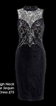 High Neck Lace Sequin Dress