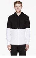 KRISVANASSCHE Black & White cropped hoodie trompe l'oeil shirt for men