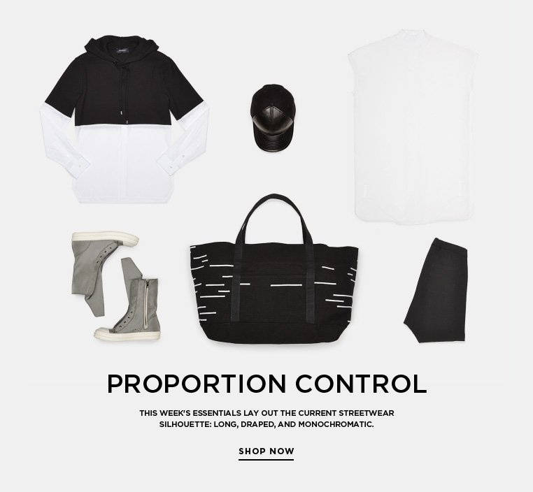 Essentials: Proportion Control This week's Essentials lay out the current streetwear silhouette: long, draped, and monochromatic.