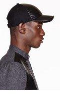 NEIL BARRETT BLACK Wool & LEATHER cap for men