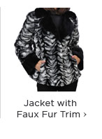 Notched Collar Jacket with Faux Fur Trim