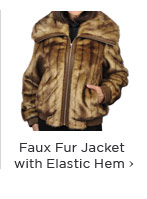 Faux Fur Jacket with Exposed Zipper and Elastic Cuffs and Hem