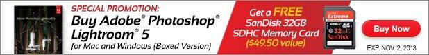 Buy Lightroom 5 get Free SanDisk 32GB SDHC Memory Card