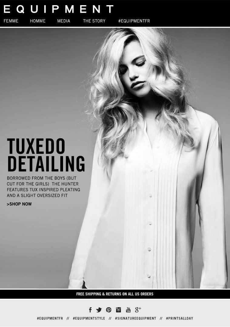 TUXEDO DETAILING BORROWED FROM THE BOYS (BUT CUT FOR THE GIRLS) THE HUNTER FEATURES TUX INSPIRED PLEATING AND A SLIGHT OVERSIZED FIT >SHOP NOW