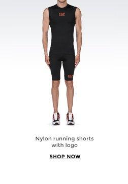 NYLON RUNNING SHORTS WITH LOGO