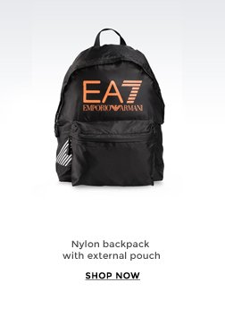 NYLON BACKPACK WITH EXTERNAL POUCH