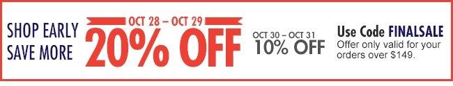 20% off Oct.28-29