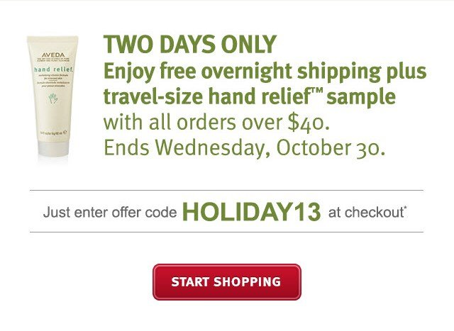 Two Days Only Enjoy Free Overnight Shipping plus travel-size  Hand Relief(TM) with all orders over $40. Use Code HOLIDAY13 at checkout.* SHOP NOW >>