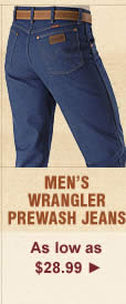 All Mens Wrangler Prewash Jeans on Sale