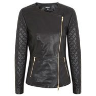 DKNY - Partially quilted leather biker jacket