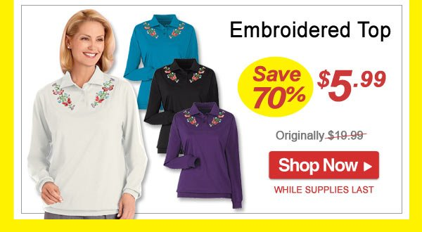 Save 70% - Embroidered Top - Now Only $5.99 Limited Time Offer - Shop Now >>