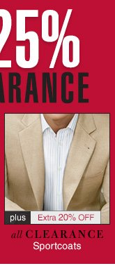 Clearance Sportcoats - Reduced 25% plus Extra 20% Off