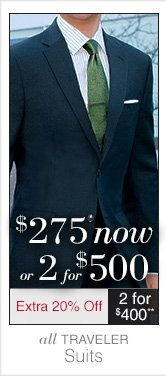 Traveler Suits - $275 USD now or 2 for $500 USD plus Extra 20% Off