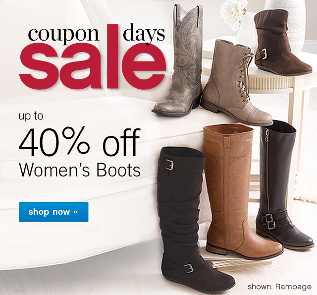 Coupon Days Sale Preview. Up to 40% off Women's Boots. Shop now.