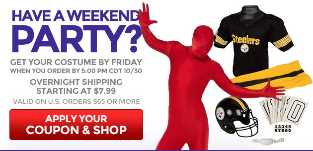 Have a Weekend Party? Get Your Costume by Friday
