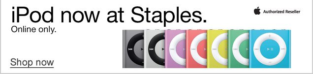 iPod  now at Staples. Online only. Shop now.