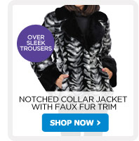 Notched Collar Jacket with Faux Fur Trim - Shop Now!