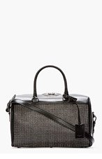 SAINT LAURENT Black Studded Leather Classic Baby Duffle Bag for women