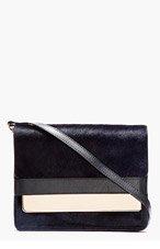 SOPHIE HULME Navy Calf-Hair Envelope Shoulder Bag for women