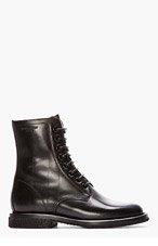 SAINT LAURENT Black Leather Crepe Sole Rangers Boots for women