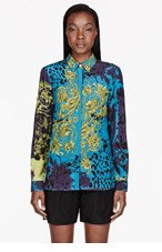 VERSACE Teal & purple Printed Blouse for women