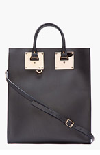 SOPHIE HULME Black Leather Rosegold Navy-Trimmed Tote for women