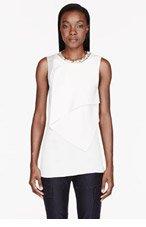 3.1 PHILLIP LIM Ivory crepe & chiffon crystal neckline Shell Blouse for women