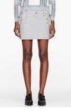 3.1 PHILLIP LIM Heather grey Crystal embroidered Boxing Skirt for women