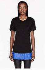 EN NOIR Black & blue LEATHER UNDERLAY T-shirt for women