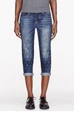 MARC BY MARC JACOBS Blue houndstooth-stitched Boyfriend Crop Jessie jeans for women