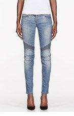 BALMAIN Blue ribbed & reinforced biker Jeans for women