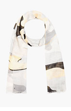 PROENZA SCHOULER Grey Cashmere-Silk Camo Print Scarf for women