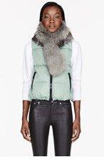 MONCLER Mint green Down & Fur Cer vest for women