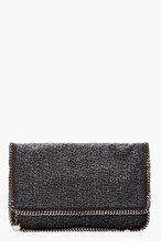 STELLA MCCARTNEY Charcoal Tweed Foldover Fallabella Clutch for women
