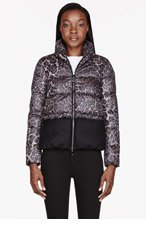 MONCLER Brown & Black quilted & ruffled Argentee jacket for women