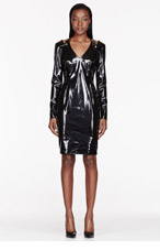 VERSACE Black Patent Cut-out & pinned Dress for women