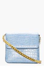 STELLA MCCARTNEY Pale Blue Croc-Embossed Grace Shoulder Bag for women
