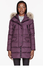 MONCLER Plum Purple down & Fur Fragon parka for women