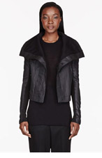 RICK OWENS DRKSHDW Black leather-trimmed Robot Neoblister jacket for women