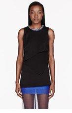 3.1 PHILLIP LIM Black crepe & chiffon crystal neckline Shell Blouse for women