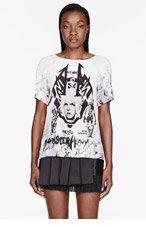 ANNE SOFIE MADSEN Ivory Silk Metal Monster print t-shirt for women