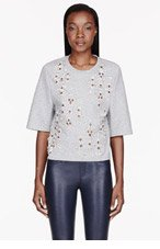 3.1 PHILLIP LIM Heather grey Crystal embroidered t-shirt for women