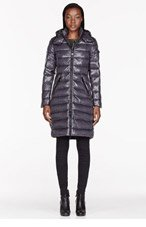 MONCLER Charcoal quilted Down Moka coat for women